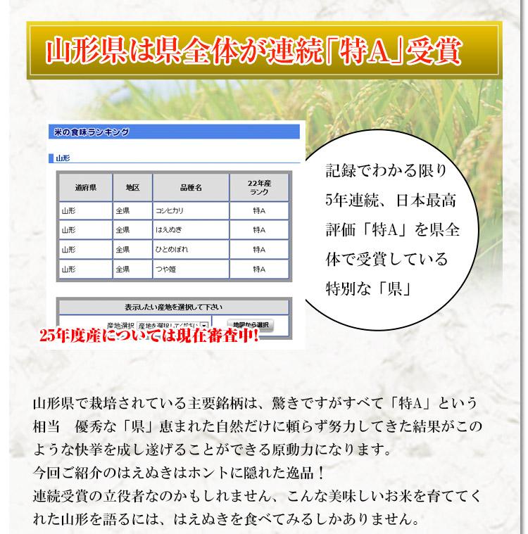 山形県 白米 はえぬき 白米27kg か玄米30kg 平成25年度